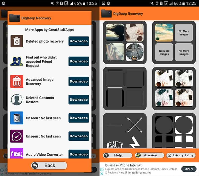 واجهة تطبيق DigDeep Image Recovery الرئيسية