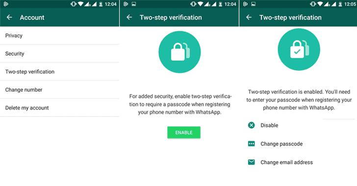 الخطوة الثالثة : تفعيل المصادقة الثنائية علي حساب واتساب خاصتك