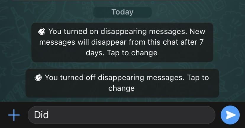 ما هي ميزة الرسائل المختفية Disappearing Messages في واتساب