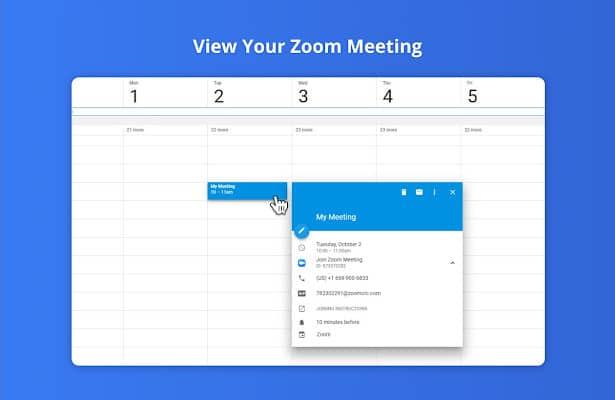 الميزة الثانية : اضافة خدمة التقويم الي تطبيق زووم.